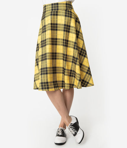 Unique-Vintage x House Rules - Black & Yellow Plaid High Waist Vivien Swing Skirt