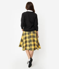 Unique-Vintage Black & Yellow Plaid High Waist Vivien Swing Skirt