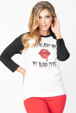Unique-Vintage x You're Just My Blood Type Unisex Raglan Tee