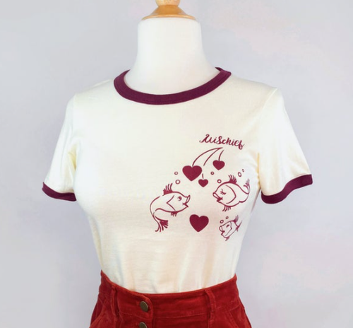 PREORDER - Mischief Made - Kissing fish Ringer T-shirt in Natural / Maroon