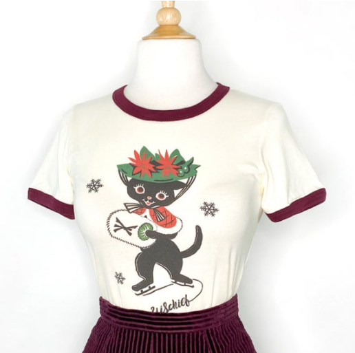 Mischief Made - Muffy on ice Ringer T-shirt in Natural / Maroon