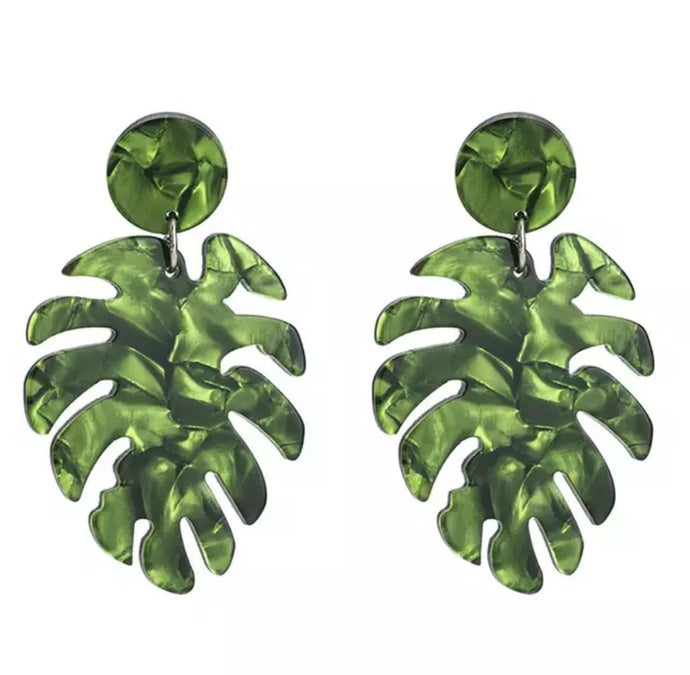 Rockin' Bettie - Acrylic Palm Leaf Drop Earrings - Green or Red