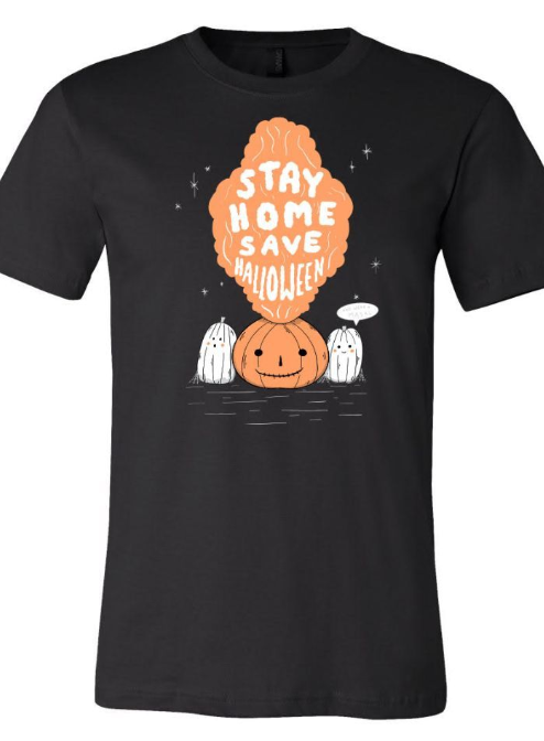 Unique-Vintage x Stay Home Save Halloween on Graphite Black Unisex Tee