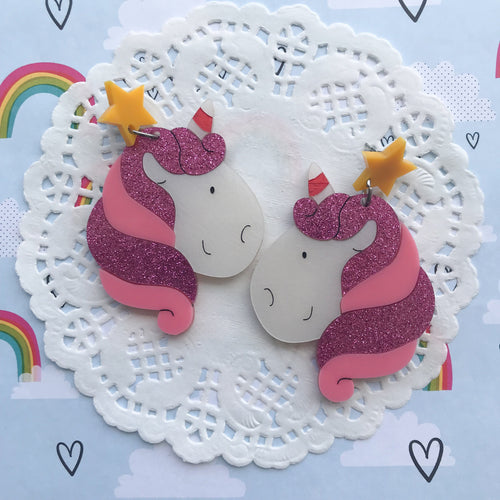 Unicorn Doing Pink Earrings by Daisy Jean Floral Designs