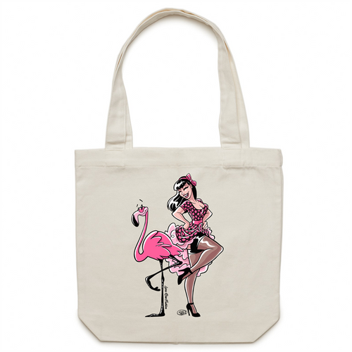 ONLINE ORDERING ONLY - FlaminGALS  Carrie - Canvas Tote Bag - Exclusive to Lana-Rose Fashion