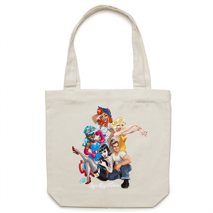 ONLINE ORDERING ONLY-The Pinup Pals - Carrie - Canvas Tote Bag - Exclusive to Lana-Rose Fashion