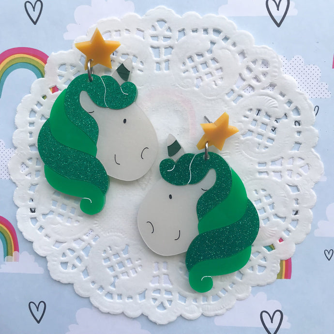 Unicorn Doing Green Earrings by Daisy Jean Floral Designs