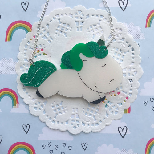 Unicorn Doing Green Necklace by Daisy Jean Floral Designs