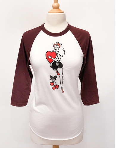 PREORDER - Mischief Made - Hold On To Your Heart 3/4-Sleeve Raglan T‑Shirt in white/Maroon /Unisex body