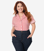 PREORDER - I Love Lucy x Unique Vintage White & Red Stripe Little Ricky Blouse   (Part Delivery)