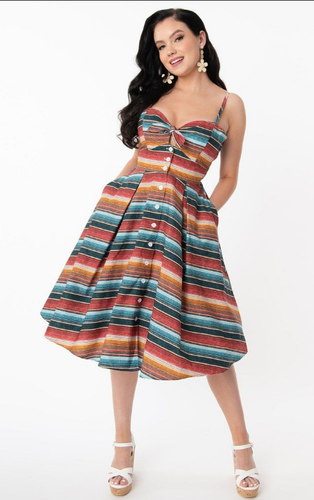 Unique-Vintage Western Serape Print Rockie Dress