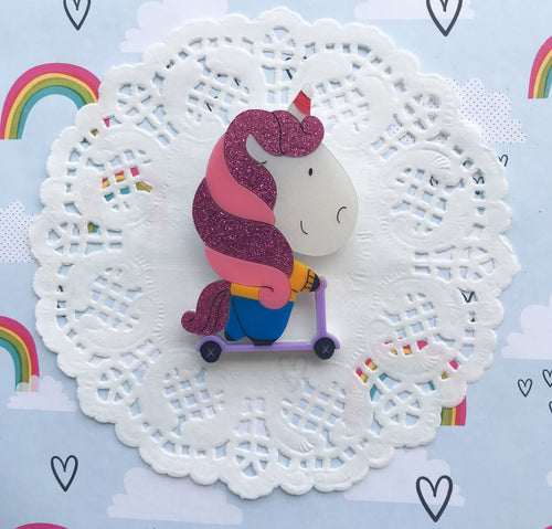 Unicorn Doing Unicorn on a Scooter by Daisy Jean Floral Designs