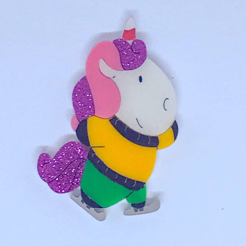 Unicorn Doing Unicorn Skating Brooch by Daisy Jean Floral Designs