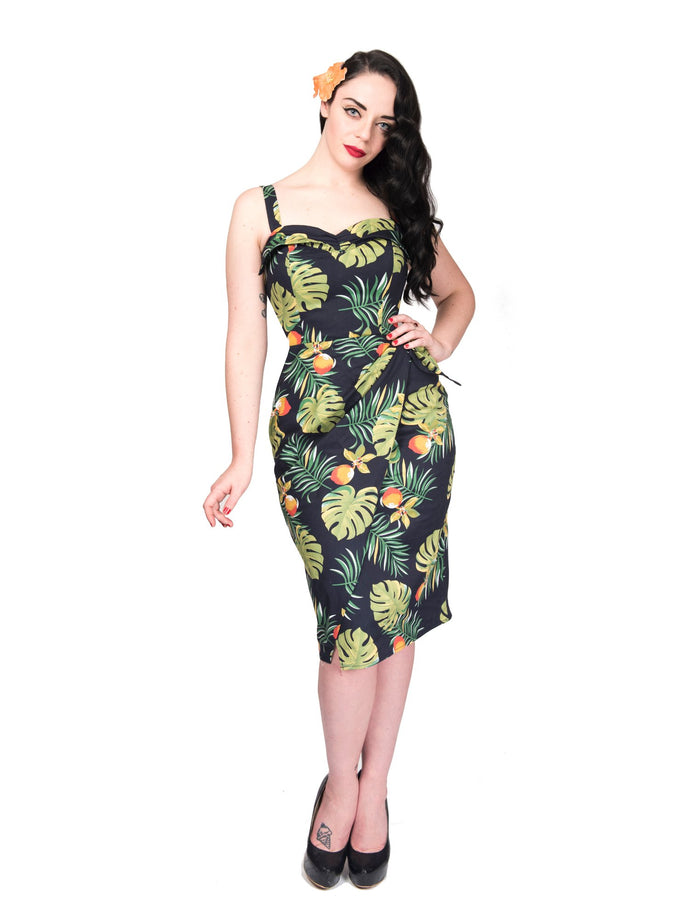 PRE ORDER  -  South Seas Sarong Dress, Palm Fruit Print - by Rebel Love Clothing
