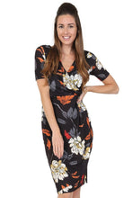 Lady Vintage London - Charlene - Autumn Bouquet Sarong Dress - Sizes UK8, UK10 & UK12 Only