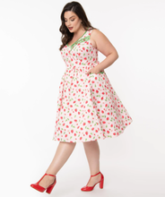 Unique-Vintage Pink & Strawberry Print Syracuse Swing Dress