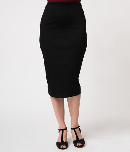Unique Vintage Black Stretch High Waist Tracy Wiggle Skirt