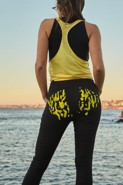 Women's Bespoke organic denim jean in Corroboree Frog Yellow by TRi COLOUR FEDERATiON