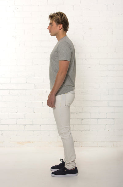 Side profile of White Denim Jean by TRi COLOUR FEDERATiON