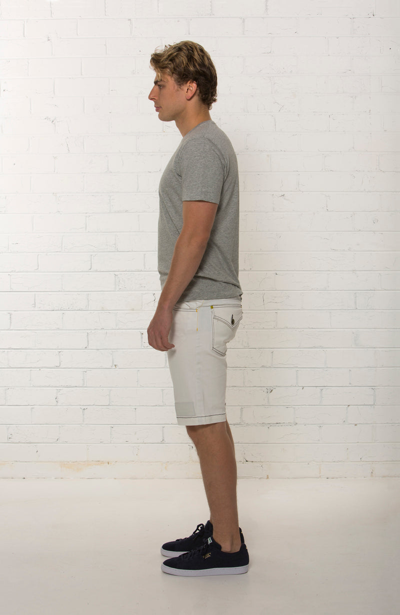 Organic white denim short by TRi COLOUR FEDERATiON
