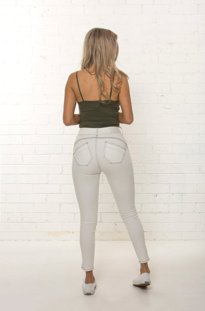 Back view of curved yoke and high waisted jean by TRi COLOUR FEDERATiON
