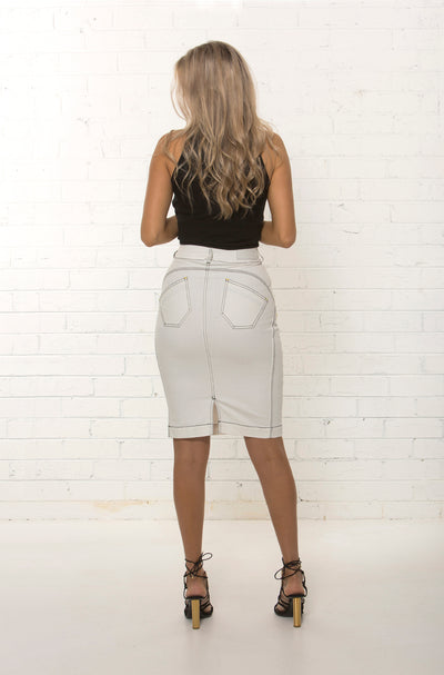 High waisted pencil skirt with organic stretch denim by TRi COLOUR FEDERATiON