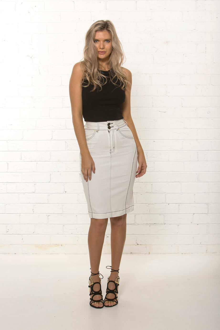 b6a947965e83ab Front profile of organic white denim skirt by TRi COLOUR FEDERATiON ...
