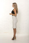 Corporate white denim skirt. Made in Melbourne by TRi COLOUR FEDERATiON