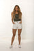 Front side of high waisted white organic denim shorts by TRi COLOUR FEDERATiON