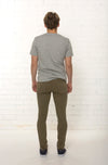 Back view of men's organic Khaki denim jean by TRi COLOUR FEDERATiON