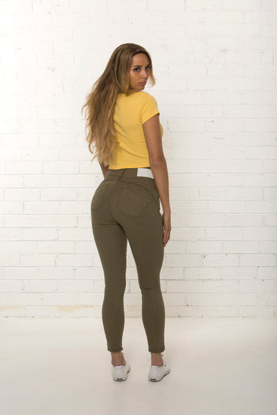 Back view of women's high waisted organic khaki jean by TRi COLOUR FEDERATiON