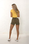 Back view of women's high waisted organic denim khaki Summer short by TRi COLOUR FEDERATiON