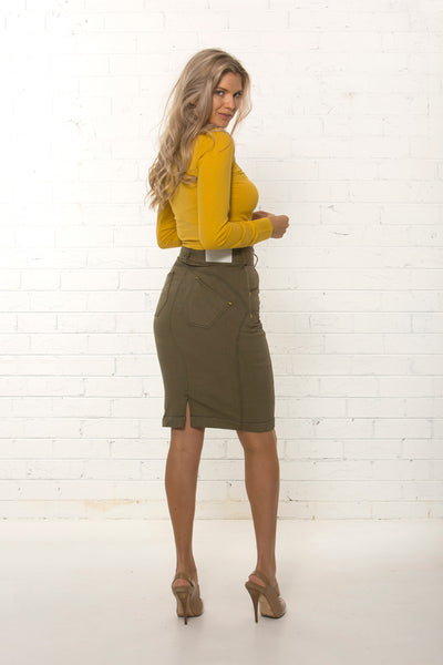 Back view of women's organic khaki denim corporate skirt by TRi COLOUR FEDERATiON