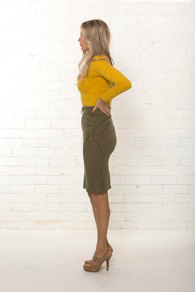 Side view of women's organic khaki denim corporate skirt by TRi COLOUR FEDERATiON