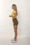 Side view of women's high waisted organic denim khaki Summer short by TRi COLOUR FEDERATiON