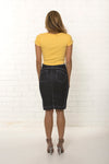 Back view, high waisted organic dark blue denim skirt by TRi COLOUR FEDERATiON