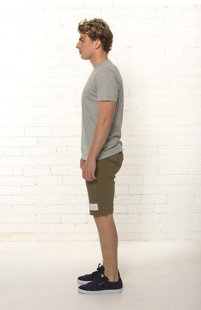 Side view of men's organic denim khaki Summer short by TRi COLOUR FEDERATiON