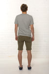 Back view of men's organic denim khaki Summer short by TRi COLOUR FEDERATiON