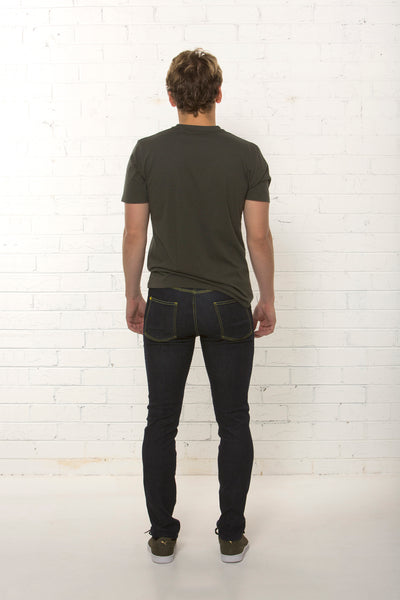 Back view of men's organic dark blue jean, mid rise fit by TRi COLOUR FEDERATiON