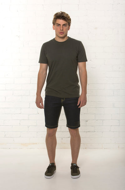 Men's mid rise organic dark blue denim short by TRi COLOUR FEDERATiON