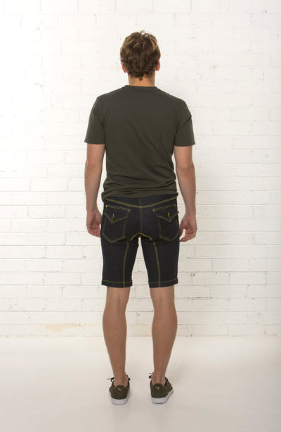 Back view of men's mid rise organic dark blue denim short by TRi COLOUR FEDERATiON