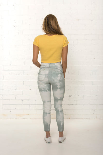 Back view of bespoke women's high waisted organic jean limited edition by TRi COLOUR FEDERATiON