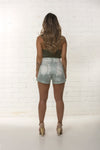 Back view of bespoke women's high waisted organic summer short limited edition by TRi COLOUR FEDERATiON