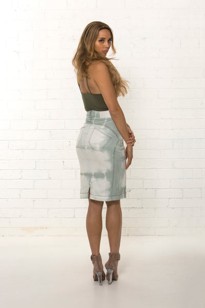 Back view of bespoke women's high waisted organic denim pencil skirt limited edition by TRi COLOUR FEDERATiON