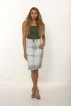 Bespoke women's high waisted organic denim pencil skirt limited edition by TRi COLOUR FEDERATiON