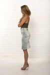 Side view of bespoke women's high waisted organic denim pencil skirt limited edition by TRi COLOUR FEDERATiON