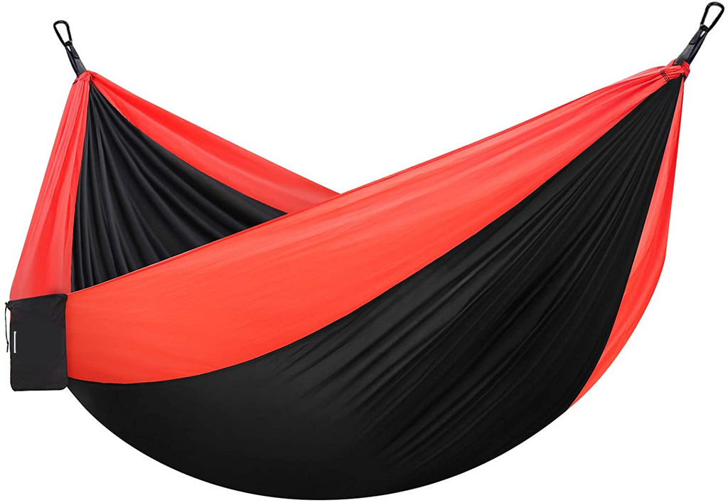Portable Red Lightweight Nylon Hammock | In-stock, Ships Thursday
