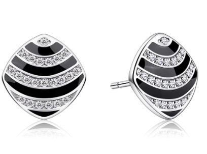 Black & Silver Stud Earrings With Diamond | In-Stock, Ships Thursday