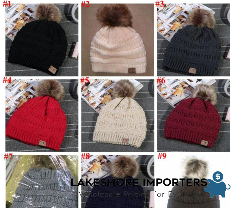 Winter Knitted Fur Poms Beanie