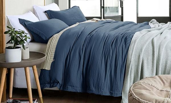 Adrien Lewis Stone Washed Bamboo Feel 3pcs Duvet Cover Set